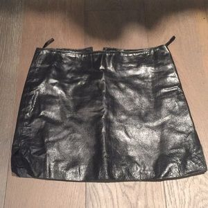 Bisou bisou real black leather miniskirt 8 6 4